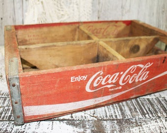 Red Coca Cola Crate, Wood Coke Box, 4 divisions, Vintage