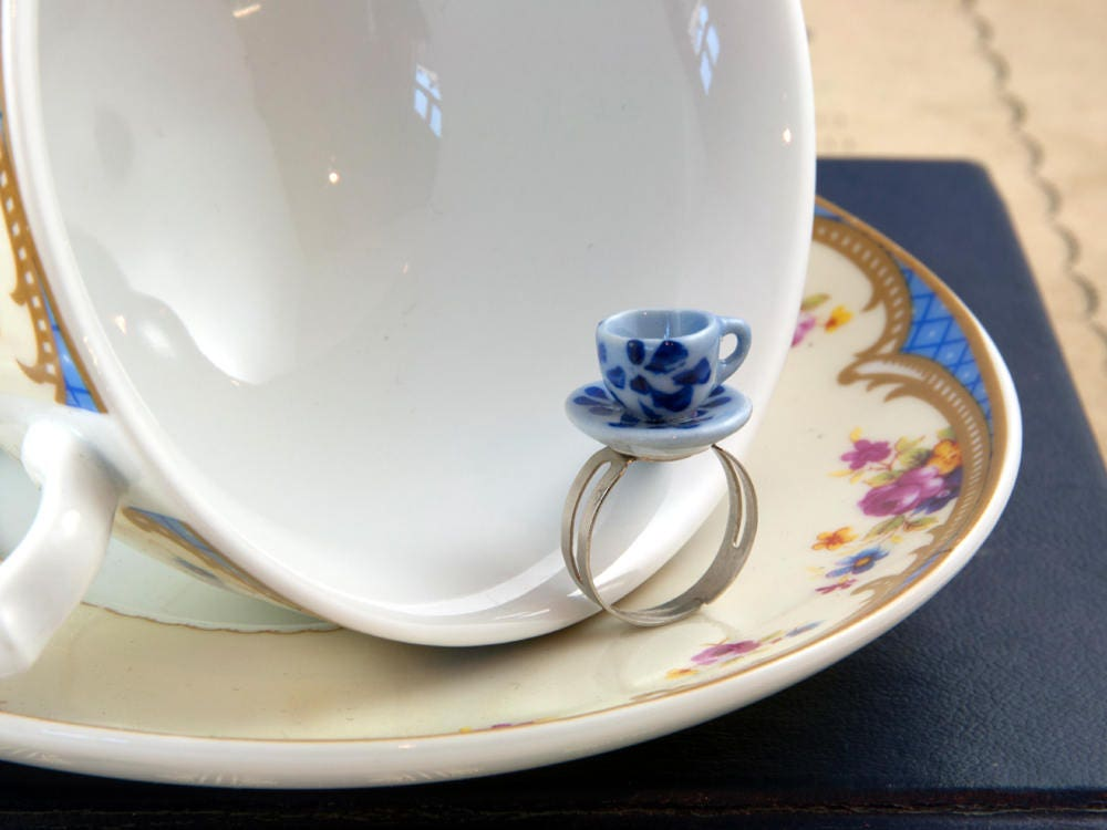 Blue and White Teacup Ring - Tea Party Ring - Teacup Favour - Adjustable Ring