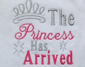 Buy 1 Get 1 Free!  The Princess Has Arrived with Princess Crown Princess Tiara Baby Girl Embroidery Design 4 x 4