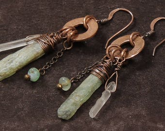 Healing Garden earrings: green kyanite and crystal quartz sticks, hammered copper washers