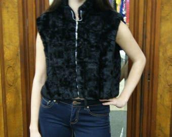 60s 70s Vintage Faux Fur Hippie Vest Jacket - M/L
