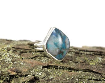 Gorgeous Shattuckite Ring with Quartz - Large Gemstone Ring - Size 8 Ring - Shattuckite Jewelry - Shattuckite with Quartz - Metalsmith Ring