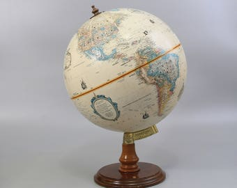 """Vintage Replogle 12"""" World Classic Series Globe with Wood Stand / Made in USA / Item No. 22618"""