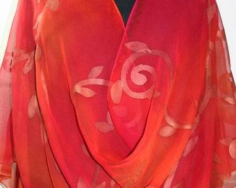 Coral Pink Orange Hand Painted Chiffon Silk Shawl MOROCCAN SUNSET - Select your SIZE. Silk Scarves Colorado. Elegant Wedding Silk Wrap