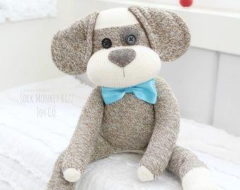 Sock Monkey Doll, Long Eared Puppy Dog with Eye Patch