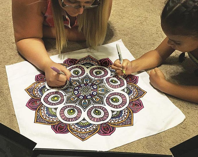 Mandala Design, Color Your Own Bandanas! All you need is imagination and markers! Makes a unique, creative gift for kids, parties and more!