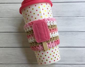 Cup cozy, coffee cup cozy, coffee cozy, coffee cup sleeve, cup sleeve, crochet coffee cozy, reusable cup cozy, popsicle gift, coffee mug
