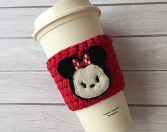 Drink cozy, cup cozy, coffee cup cozy, crochet cup cozy, coffee cup sleeve, planner accessories, mouse coffee cup, coffee felties, mouse
