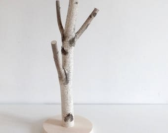 white birch tree - wooden tree, nursery decor, rustic christmas, jewelry stand