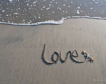 LOVE, Starfish, Writing in the Sand, Instant Download