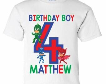 PJ Mask Birthday Boy Shirt, Personalized Name and Age PJ Mask Birthday Shirt, Toddler Youth Boy PJ Mask Birthday Party, Boys Custom Birthday