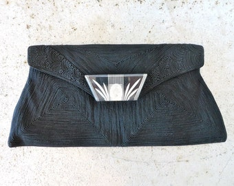 Vintage 1940's/Large Black Corde Clutch with Lucite Clasp/WW2 Era Black Clutch Purse/Etched Lucite Clasp/Corde