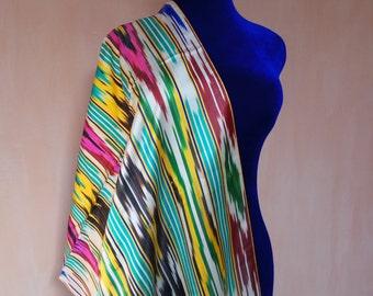 Uzbek vintage pure silk ikat fabric Han atlas 3 meters. VI042