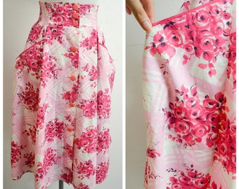 1950s Pink cotton rose print beach skirt / 50s shirred wide waistband printed day skirt - XS S