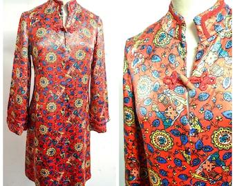 1970s Red novelty print Asian satin tunic dress / 60s 70s printed blue orange mandarin collar psychedelic mini dress - S