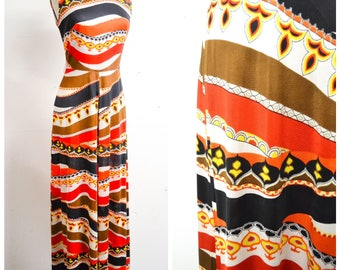 1960s 70s Orange black white psychedelic print roll neck palazzo leg jumpsuit / 1970s 60s stripe sleeveless wide leg pant all in one - XS S