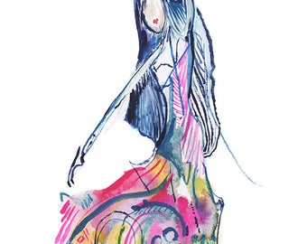 One of a Kind Abstract Dancer Figure Watercolor Painting, Original Fashion Illustration - B20
