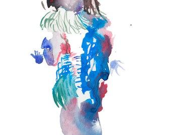 "Original Watercolor, Abstract Figure Painting, Surreal Art, Fashion Illustration, Gouache, 6"" x 6"" - 149"