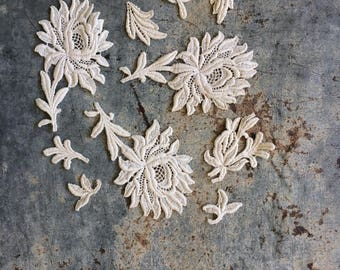 Vintage Cotton Lace Floral Embellishments
