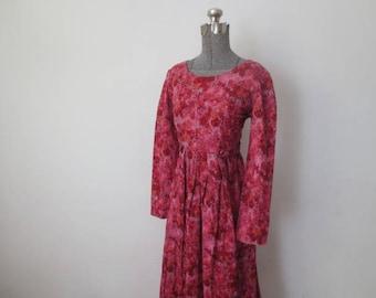 Vintage '70s Boho Fuchsia Floral Print Empire Waist, Belted Long Sleeve Maxi Dress, 36 - 38 Inch Bust