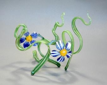 Lampwork Glass Flower Sculpture - Art Nouveau Style - Blue Daisies