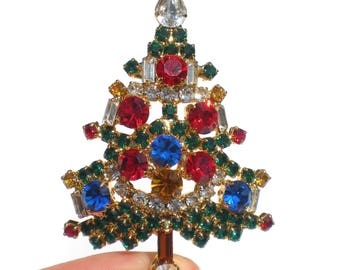 Rhinestone Christmas Tree Brooch Jewel Tone Red Blue Green on Gold Tone - Vintage Jewelry Christmas in July CIJ