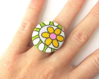 Gift for her - Flower ring - large fabric ring - big button ring - white green yellow flower bright cute