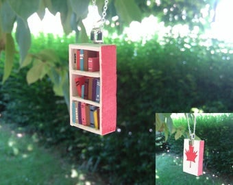 Limited Edition - Canada Day Bookshelf Necklace (Made to Order)