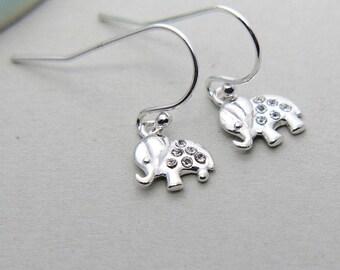 SALE, Elephant Earrings, Sterling Silver Elephant Earrings, Baby Elephant Earrings, Tiny Elephant Earrings, Animal Earrings, Gift for Girl
