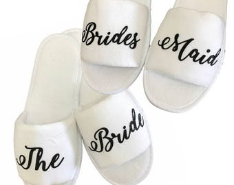 Wedding Party Slippers- White and Black Glitter- Bride, Bridesmaid, Mother of the Bride, Custom