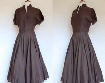 vintage 1950s chocolate brown dress   50s dark brown dress with cuffed sleeves and full skirt   S - M