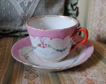 VIEUX PARIS French tea cup & saucer Pink ROSES