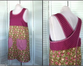 Cross Back No Tie 1970s Apron-Merlot & Green Floral-Size Large-Teacher Crafter