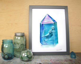 Aura ursas - Polar Bear crystal watercolor art print