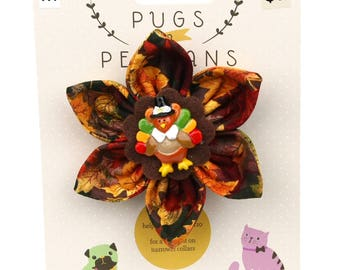 Autumn Dog Bow - Pilgrim Tom Turkey on Autumn Leaves - Flower - Collar Blossom - Medium Size