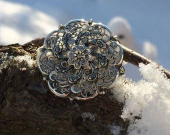 Lovely Vintage 1950s Marcasite Continental Silver Flower Brooch