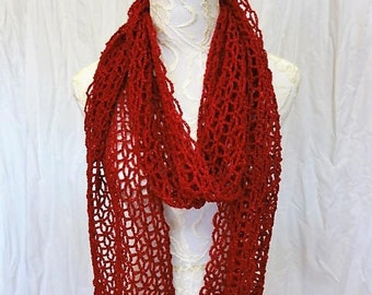 rich red merino silk blend lacy scarf hand dyed in Montana
