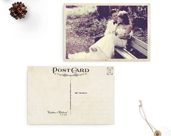 "Vintage Wedding Thank You Cards, 4x6, Wedding Thank You Cards, the ""Kristina"""