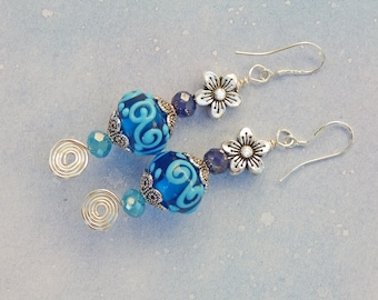 Bohemian Style, Flower, and Blue Murano Glass Earrings