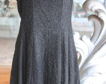 Vintage 1980s - 1990s Beaded Little Black Swirly Skirt Dress