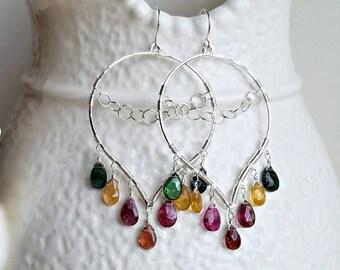 Tourmaline Chandelier Earrings, Tourmaline Lotus Hoops, Wire Wrapped Tourmaline Earrings, Boho Hoop Earrings:  Ready to Ship