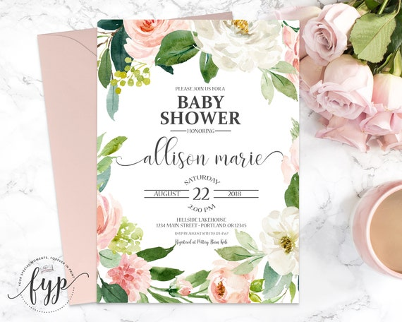 Girls floral baby shower invitation spring baby shower invite by il570xn filmwisefo