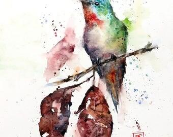 AUTUMN HUMMINGBIRD Watercolor Print by Dean Crouser