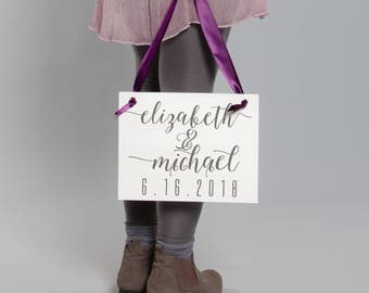Save The Date Banner Personalized with Bride & Groom's Name and Wedding Date | Handcrafted Wedding Announcement Sign Engagement 1521 BW