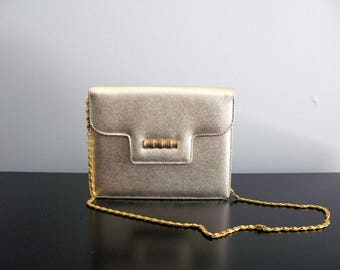 gold clutch purse - vintage 50s 60s metallic glitter bamboo tiki Miss Lewis chain strap small handbag party evening prom NYE holiday bag