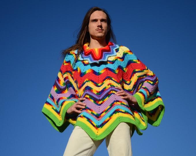 Crochet Poncho Rainbow Points