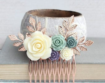 Floral Hair Comb, Rose Gold Branches, Slate Blue Rose, Ivory Cream Rose, Sage Green Wedding, Bridal Hair Piece, Bridesmaids Gift, Blush Pink