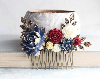 Navy Blue Rose Hair Comb Antiqued Gold Branches Oxblood Rose Autumn Wedding Dark Red Floral Collage Rustic Nature Bridesmaids Gift
