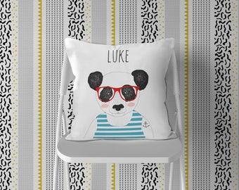 Personalized Pillow Nursery, Boy Room Bear Zoo Decor, Panda Name Pillow, Black White Scandinavian Kids Pillow Decor, Hipster Tattoo Glasses