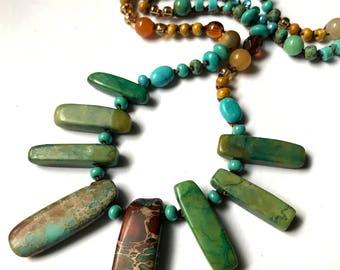 Aqua terra jasper stick bead necklace / crochet bracelet, turquoise, boho jewelry, crochet jewelry, semi precious, summer, coffycrochet